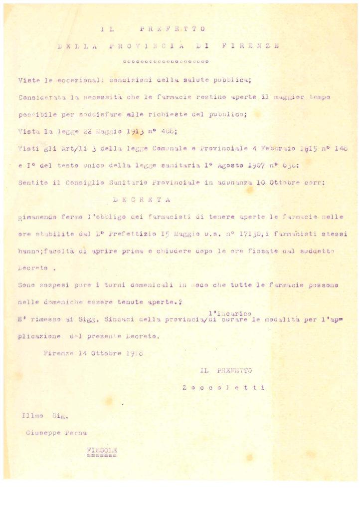La lettera con cui il prefetto predisponeva l'apertura delle farmacie anche la domenica per l'epidemia di spagnola (archivio storico del Comune di Fiesole)