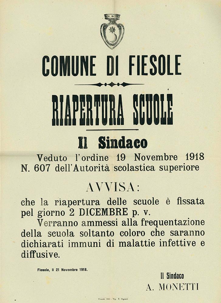 Il manifesto del Comune di Fiesole in cui si comunica la riapertura delle scuole dopo l'epidemia di spagnola per il 2 dicembre 1918 (archivio storico del Comune di Fiesole)